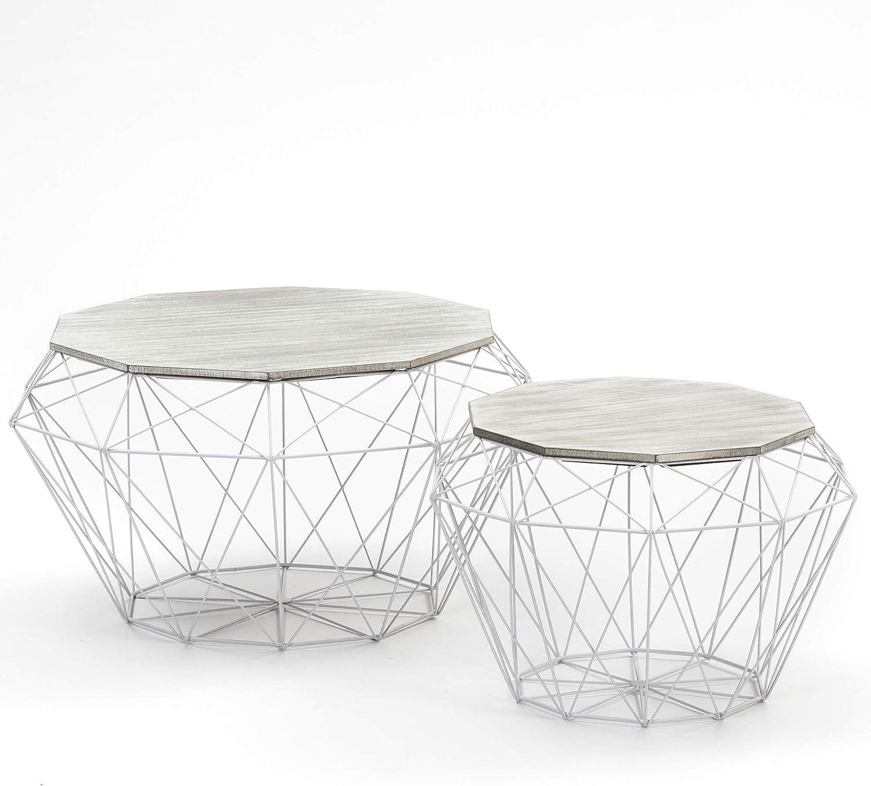 VS Venta-stock Juego 2 mesas de Centro café Nepal con Tapa de Madera Natural y Estructura de Metal en Blanco