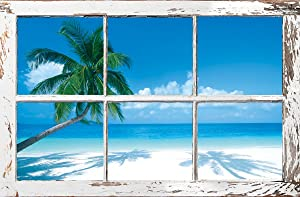 HUNTINGTON GRAPHICS Tropical Window - Palm Trees Poster 24X36