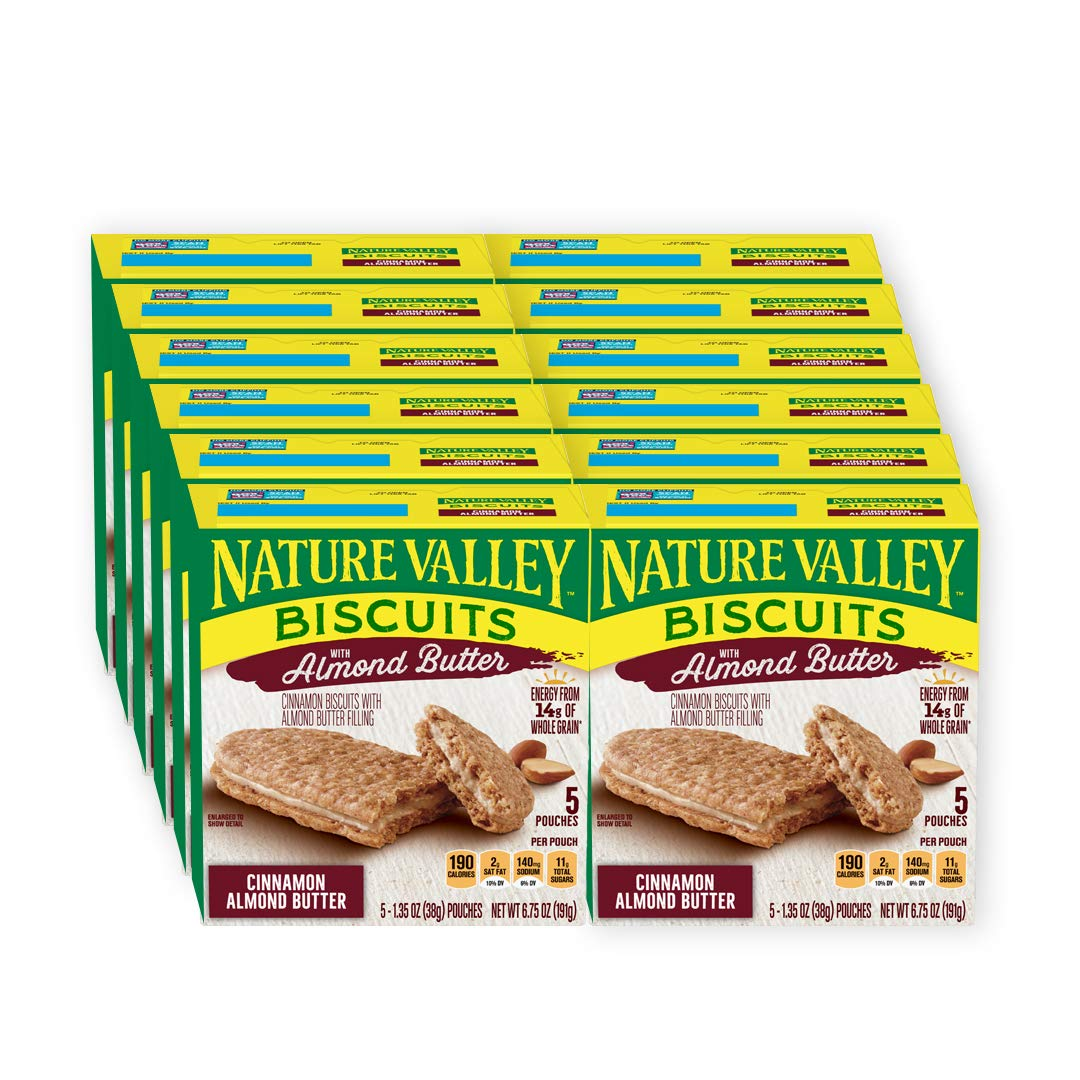Nature Valley Biscuits, Almond Butter, 6.75 oz (Each 5 pouches of 1.35 oz), Pack of 12