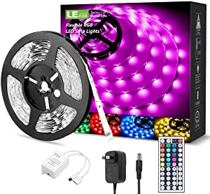 LE RGB LED Strip Lights Kit, 16.4ft 12V Flexible LED Light Strip, 5050 SMD LED, Color Changing Rope Light with Remote Controller and 12V Power Supply for TV Backlight, Home, Kitchen, Bedroom
