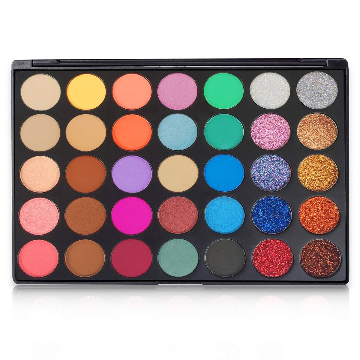 FindinBeauty 35 Colors Eyeshadow Palette Makeup Set, 15 Matte + 10 Shimmer + 10 Pressed Glitter Blending Powder - Bright Natural Smoky Multi Reflective Shades Velvet Texture Eye Shadow Kit