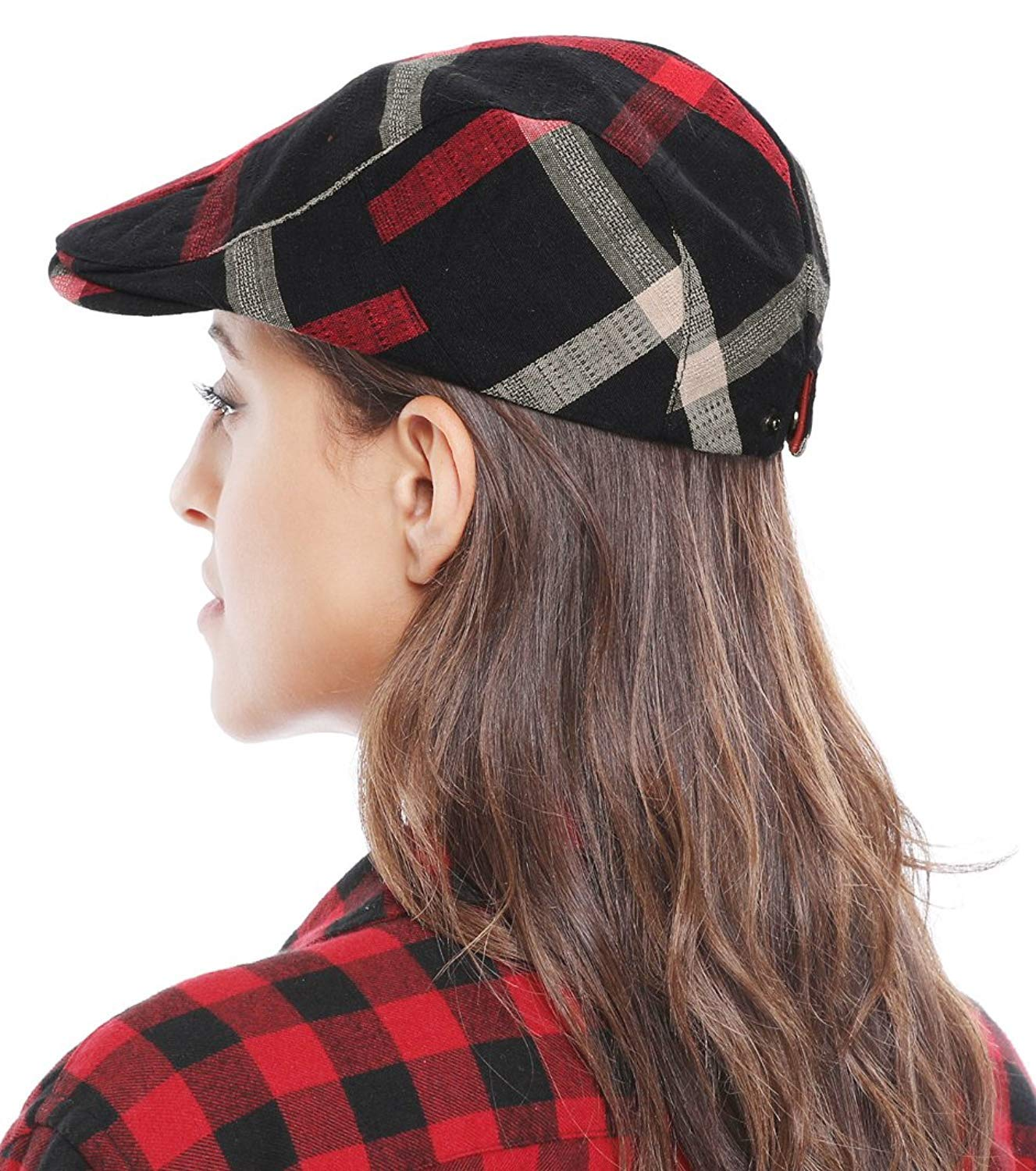 Bellady Adult Peaked Simple Color Plaid Newsboy Cap Beret Hat, Black_1, One Size
