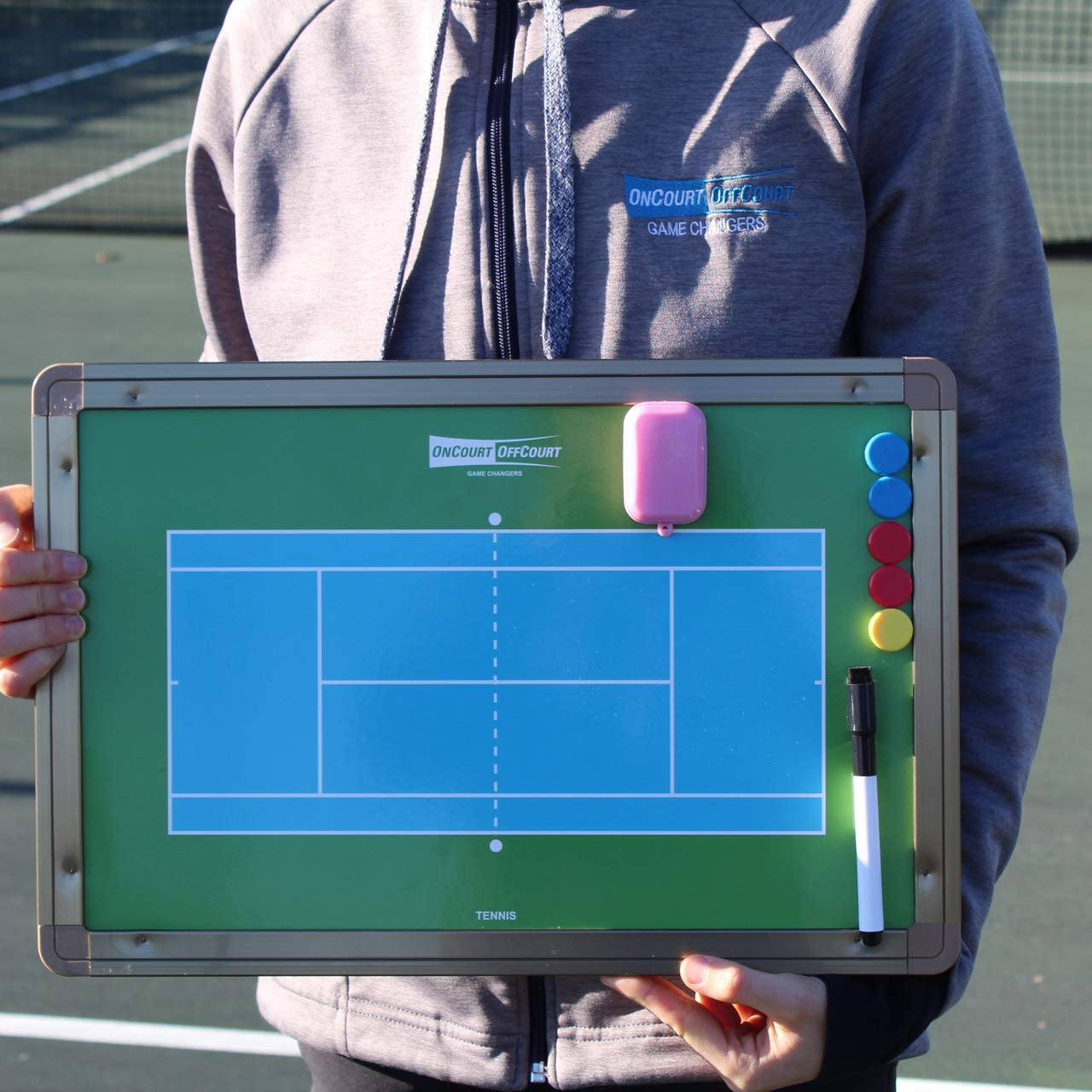 Oncourt Offcourt Magnetic and trocken Erase Tennis Coach's Board - Comes with Dry-Erase Pen and Magnetic Dots