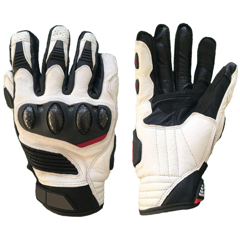 QARYYQ Outdoor-Motorrad-Racing Off-Road-Handschuhe Können Touchscreen-Lederhandschuhe, Eine Vielzahl Von Farben Handschuh (Farbe   Weiß, größe   M)