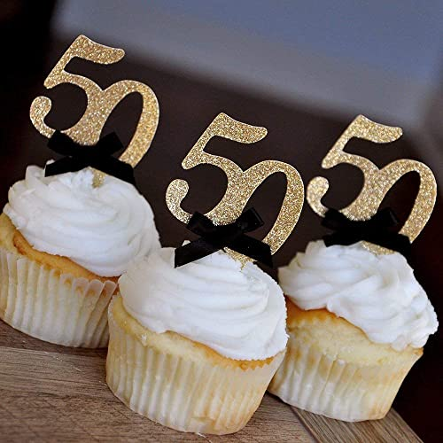 50th Birthday Cupcake Toppers with Bows-Glittery Silver /& Black Pack of 10