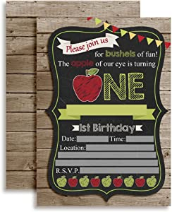 "Chalkboard Apple First Birthday Party Invitations, 20 5""x7"" Fill in Cards with Twenty White Envelopes by AmandaCreation™"