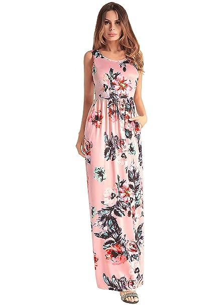Las Mujeres de impresión Floral sin Mangas Boho Vestido de Damas de Noche Party Maxi Vestido