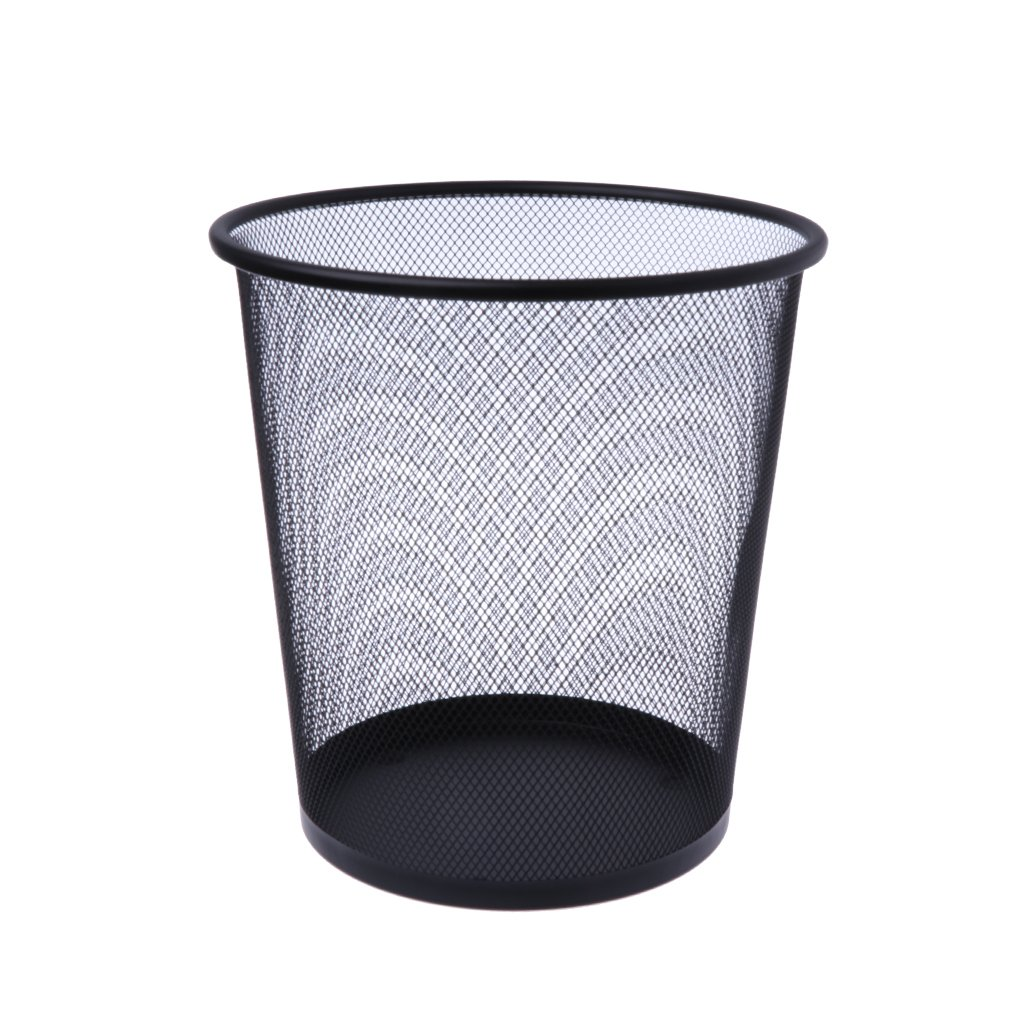 Shoresu Wastebasket, Metal Mesh Wastebasket Round Trash Can Recycling Bin Office Tools Supplies - Black
