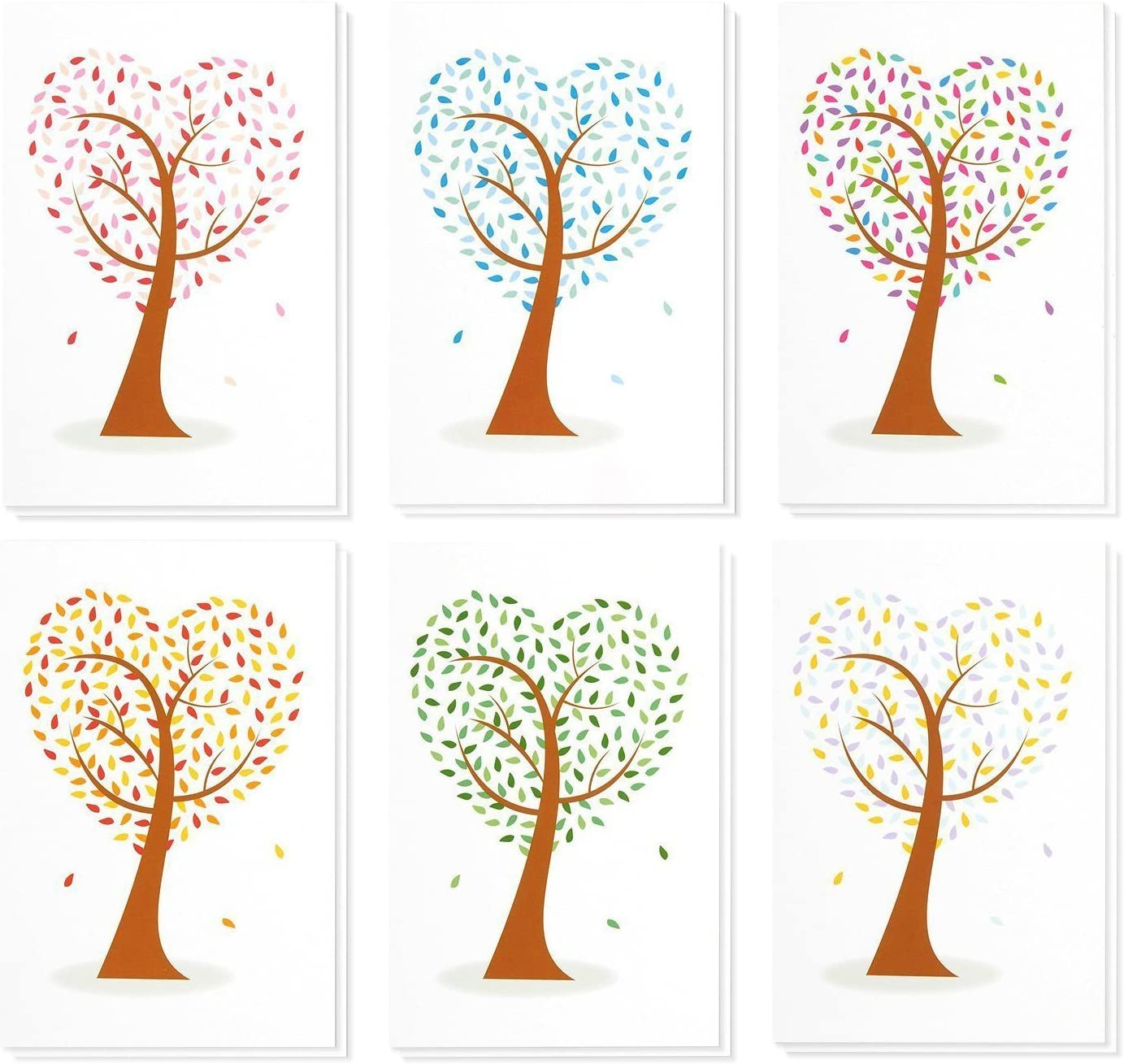 48 Pack All Occasion Blank Note Cards Greeting Cards with Envelopes - 6 Assorted Colorful Heart Shaped Tree Designs Bulk Box Set, 4 x 6 Inches