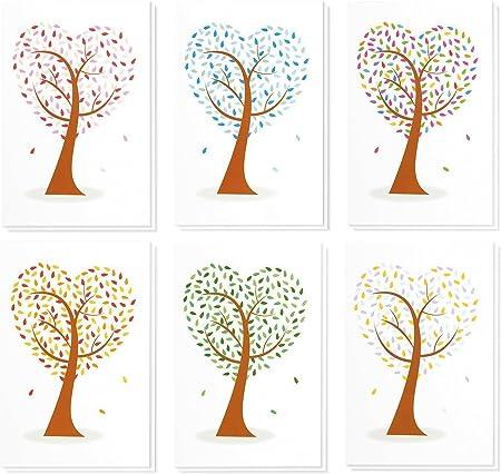 Best Paper Greetings 10/x 15/cm buste incluse Biglietti d/'auguri vuoti confezione da 48 interno bianco in 6 design con alberi colorati a forma di cuore