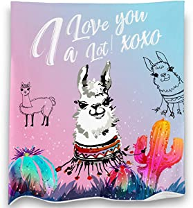 Loong Design Desert Cactus Llama Throw Blanket Super Soft, Fluffy, Premium Sherpa Fleece Blanket 50'' x 60'' Fit for Sofa Chair Bed Office Travelling Camping Gift