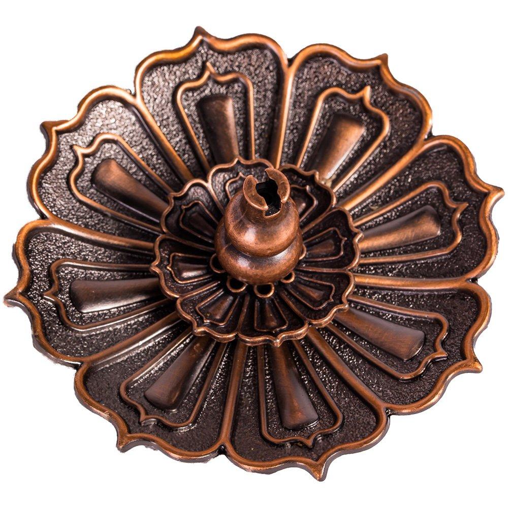 ShanBenTang Lotus Incense Burner Holder for Sticks Cones Coils Incense, Vintage Style, Copper Color