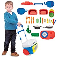 Dimple Pretend Play Set On-The-Go Carrier Travel Toy For Boys Girls & Toddlers, Great Gift for Children (Kitchen)