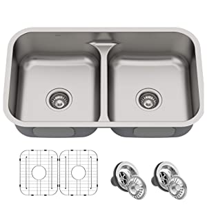 KRAUS KBU32 Premier 32-inch 16 Gauge Undermount 50/50 Double Bowl Kitchen Sink with Smart Low Divider