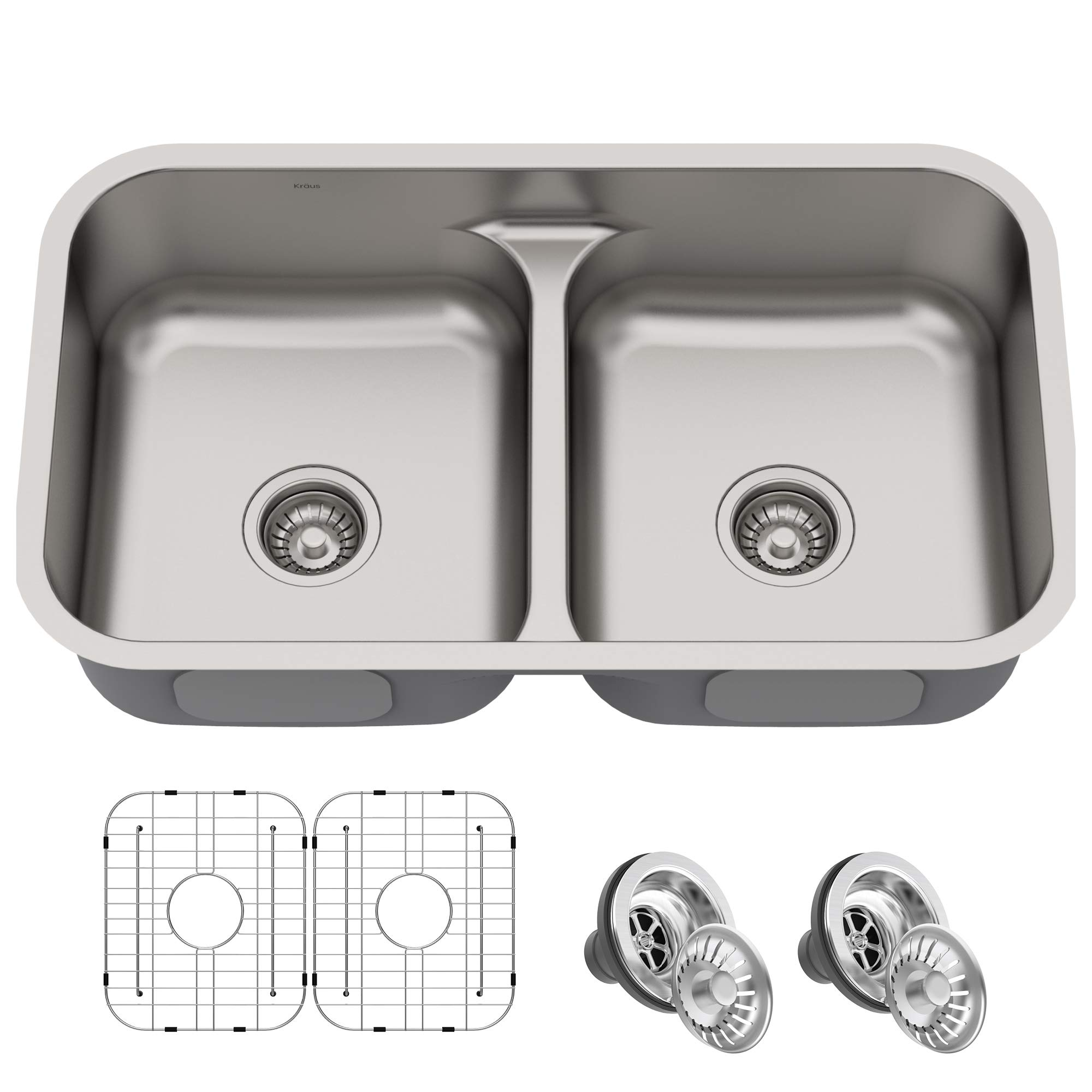 KRAUS KBU32 Premier 32-inch 16 Gauge Undermount 50/50 Double Bowl Kitchen Sink with Smart Low Divider by Kraus (Image #1)