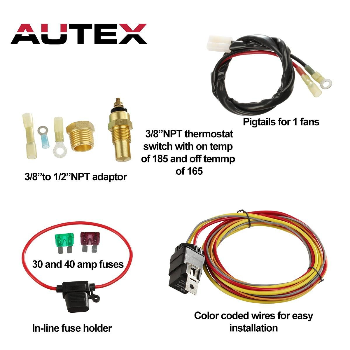 Autex New Dual Electric Cooling Fan 185 Degree On 165 Vw Radiator Switch Wiring Off Engine Thermostat Temperature 40 50 Amp Relay Kit W 1 Wire Harness