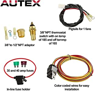 Dual Electric Cooling Fan Wire Harness Kit 185 On 165 Off Thermostat 50 AMP Relay NEW