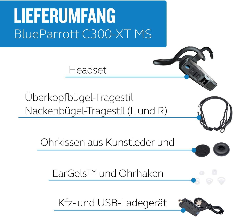 Jabra Blueparrott C300 Xt Bluetooth Headset Kabelloser Kopfhörer Mit 80 Noise Cancelling Und Microsoft Teams Walkie Talkie Integration Schwarz Elektronik