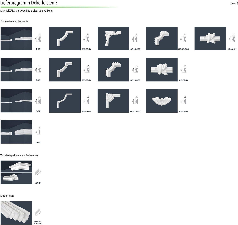 Marbet Cantidad:20 metros // 10 tira XPS estable Molduras de estuco E-2 17x25mm