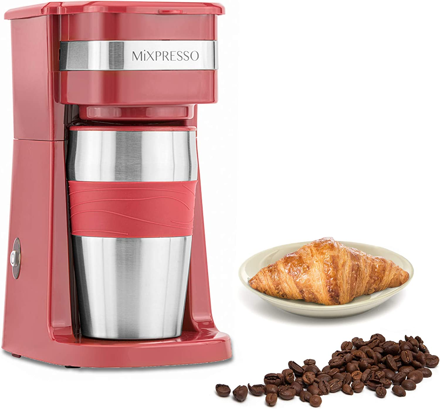 Ultimate 2-In-1 Single Cup Coffee Maker & 14oz Travel Mug Combo | Portable & Lightweight Personal Drip Coffee Brewer & Tumbler Advanced Auto Shut Off Function & Reusable Eco-Friendly Filter (Red)