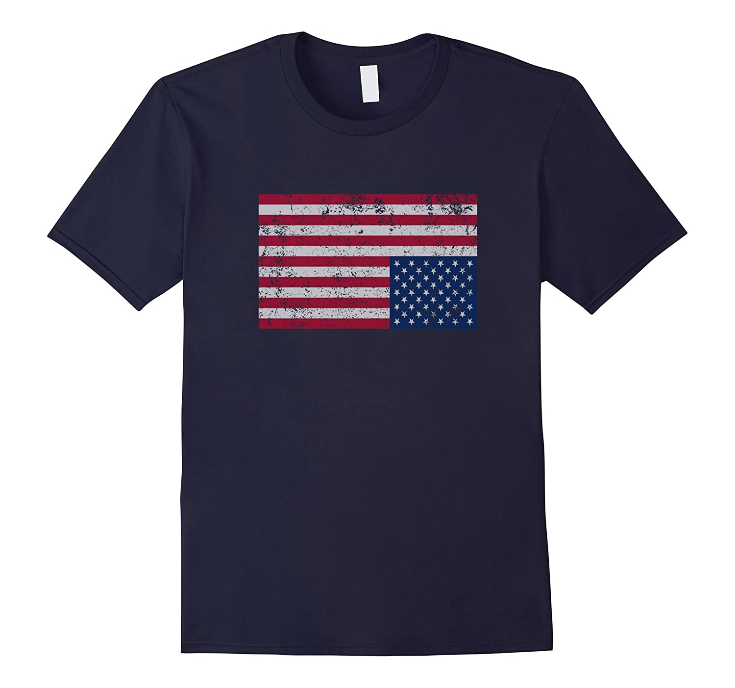 American Flag Distress Upside Down United States USA T Shirt-FL