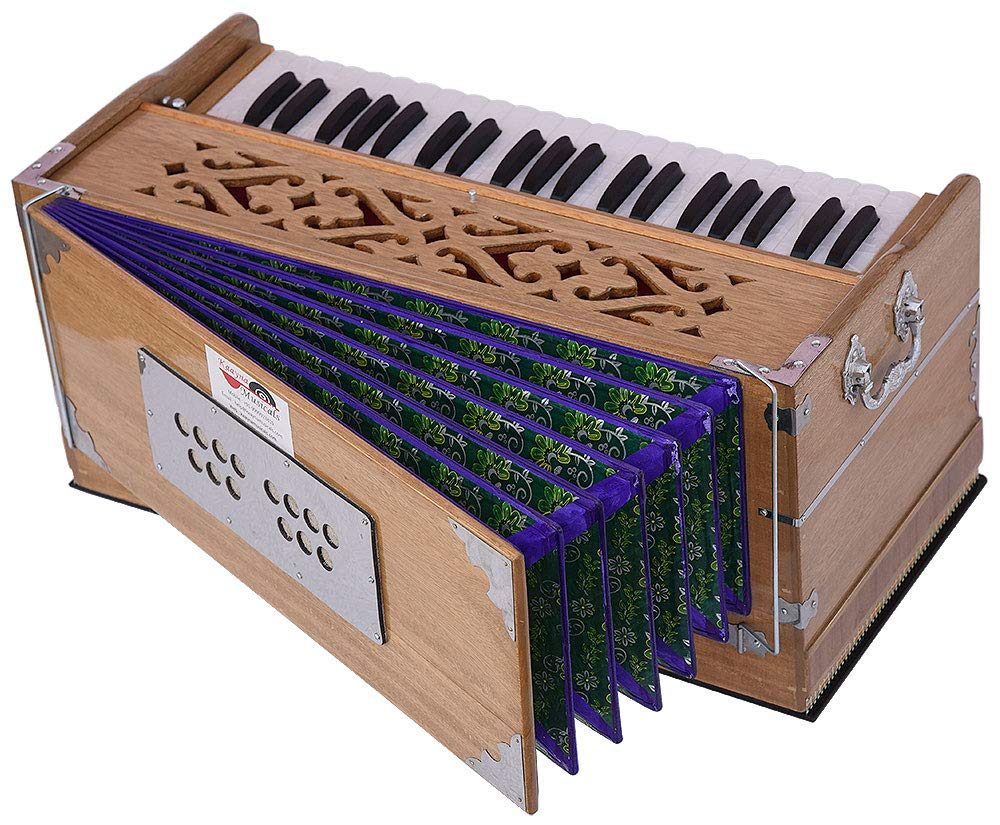 Harmonium Pro Grade By Kaayna Musicals, 9 Stop- 5 Main & 4 Drone, 3½ Octaves, Teak Colour, Flower Bellow, Coupler, Gig Bag - 440 Hz. Best for Yoga, Bhajan, Kirtan, Shruti, Mantra, Meditation, Chant