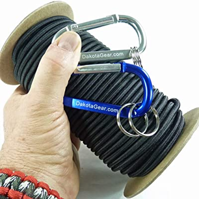 "Dakota Gear (TM) Shock Cord - Cosmic Black 1/8"" x 25 ft. Hank. Marine Grade. Also Called Bungee Cord, Stretch Cord & Elastic Cord. Made in USA. 2 Carabiners and Knot Tying eBook."