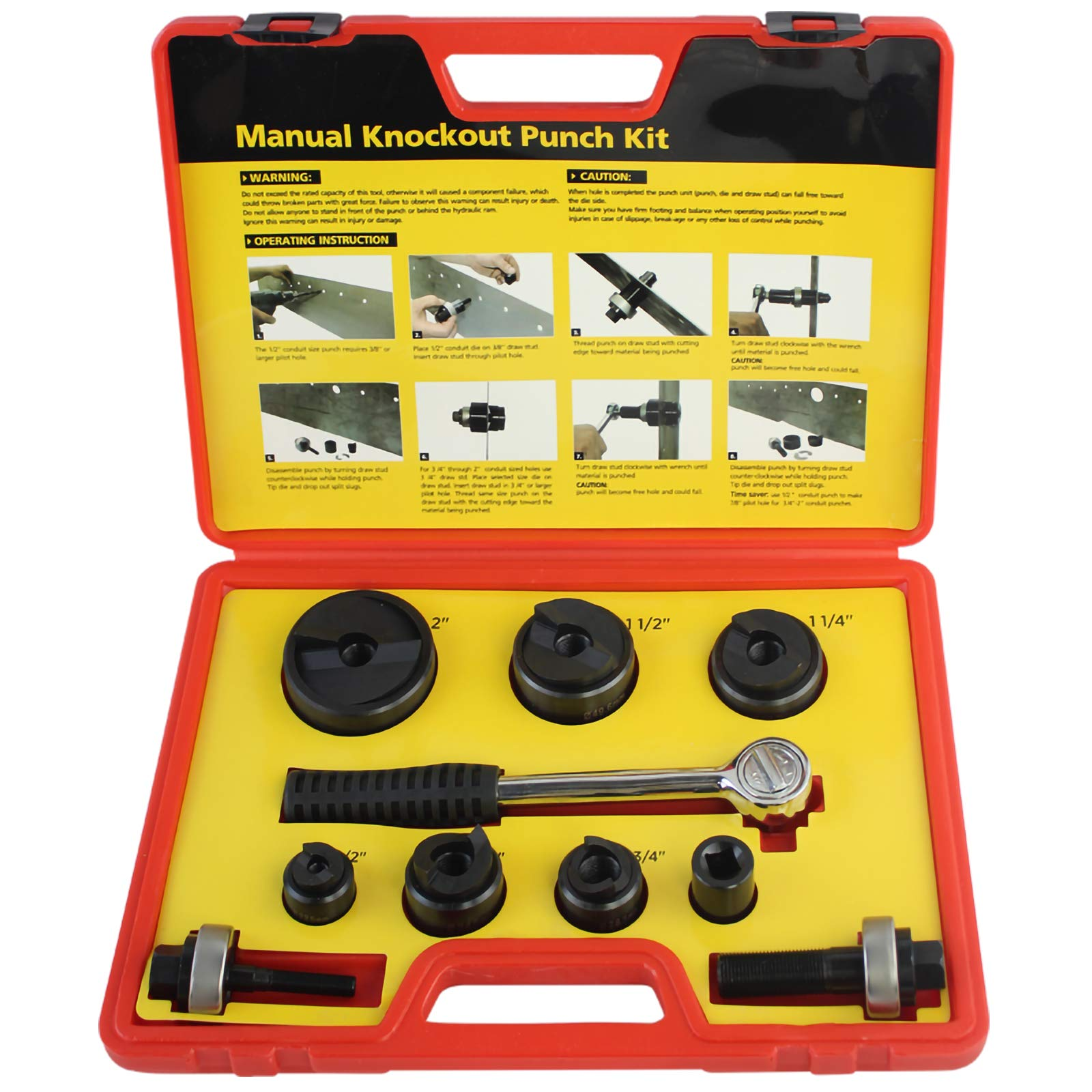 IBOSAD Manual Knockout Hole Punch Driver Kit 1/2 to 2 inch Electrical Conduit Hole Cutter Set KO Tool Kit by IBOSAD