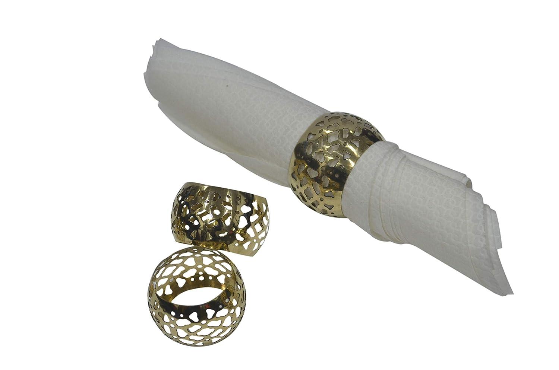 インディアンアクセント メタルナプキンリングホルダー ゴールデンカラー 直径1.8インチ (6個パック)   B07MP5NXSW