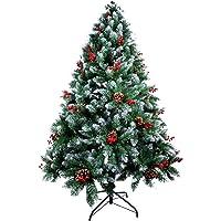 AGM Árbol de Navidad Artificial, árbol de Navidad Verde Abeto, Agujas de Pino mezcladas | Bayas Rojas | Bisagras | Base…
