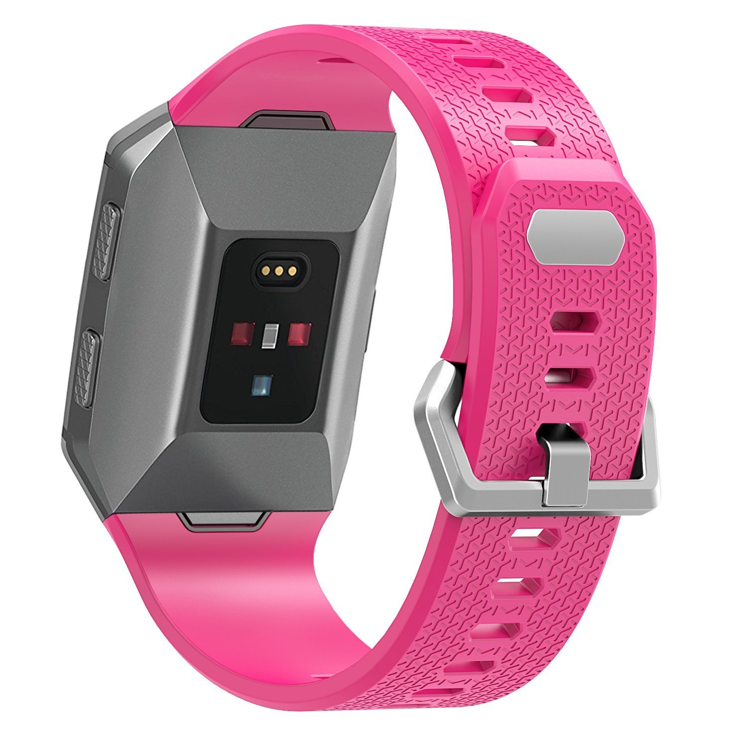 Josi Minea [Fitbit Ionic] Rugged Silicone Bracelet Adjustable Clasp - Hard Shell Strap Band Snap-On Watchband Fitbit Ionic Smart Fitness Watch [ ...