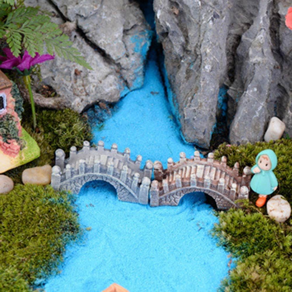 zhenleisier Miniature Garden Decoration,2Pcs Resin Bridge Fairy Tale Garden Accessories Miniature Landscape Bonsai Doll House Indoor Outdoor Home Ornament Decor 2pcs