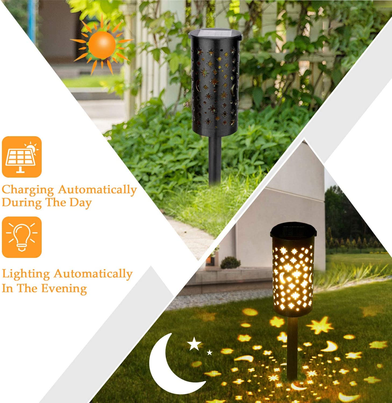 Lámparas Solares para Jardín Golwof 6 Piezas Luz Solar Exterior ...