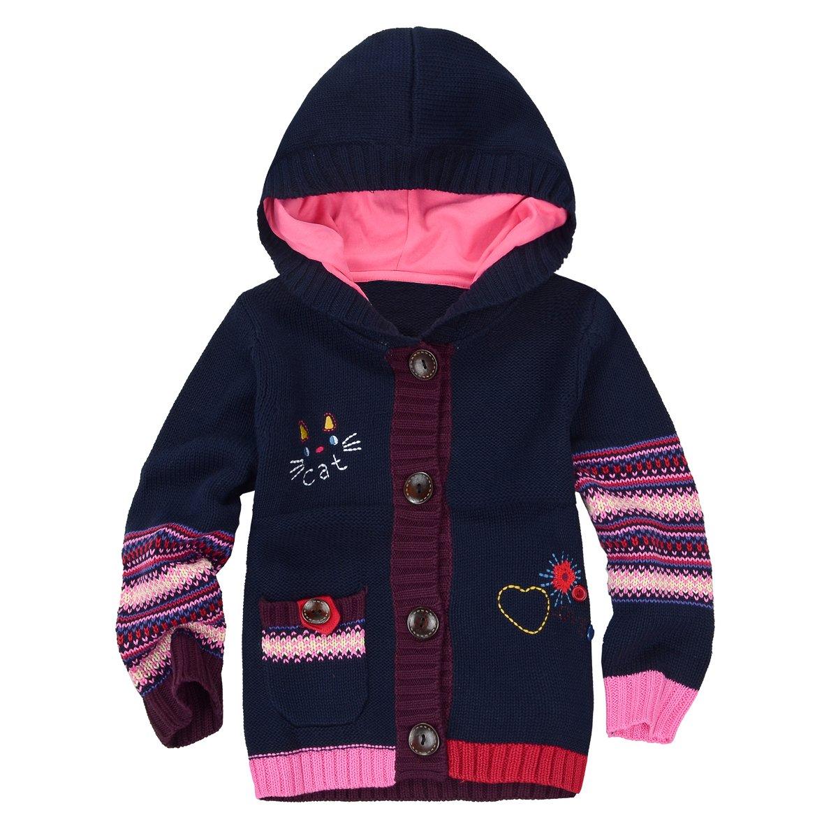 Zebra Fish Girls Button up Sweater Long Sleeve Casual Girls' Knit Cardigan 3-4T