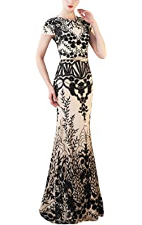 6b42fdfb47 Fanhao Women s Short Sleeves Floral Sequins Mermaid Gown Long Formal Prom  Dress