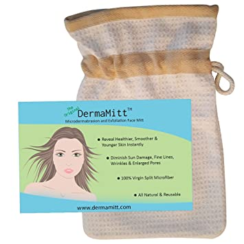 The ORIGINAL DermaMitt: Microdermabrasion & Exfoliation Face Mitt. 100% Natural. Diminish Fine