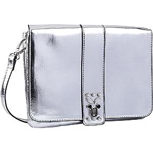 e09bec956c40f SIX Metallic Handtasche  Umhängetasche in Silber glänzendem Lederimitat