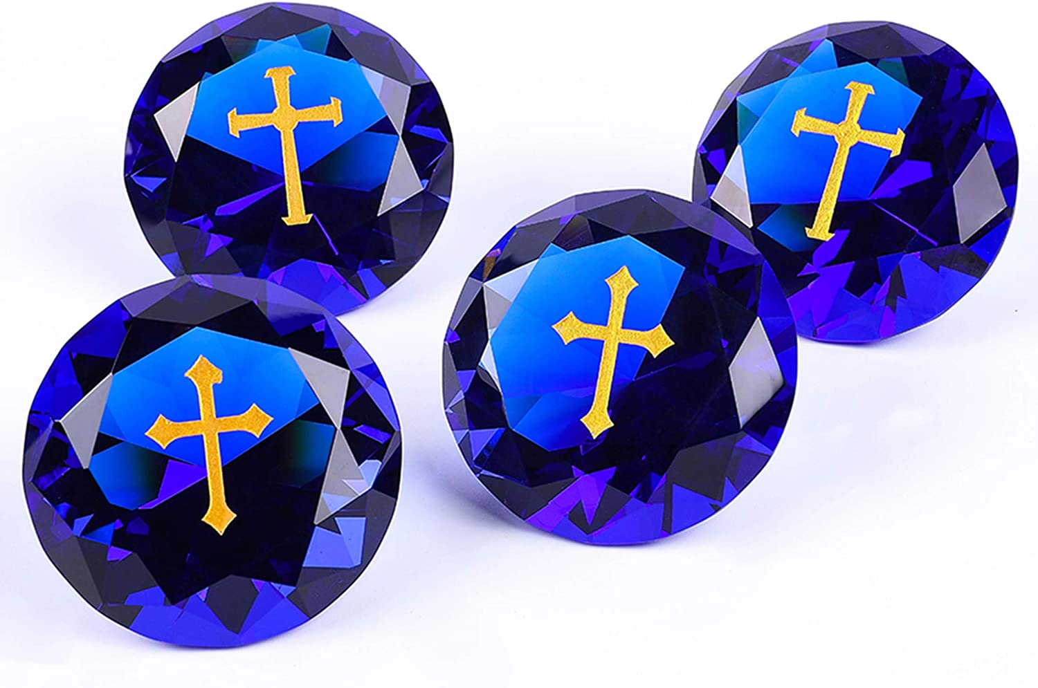 "12PCS Cross RockImpact 60mm (2.5"") Extra-Large Engraved Sapphire Blue Crystal Diamond Home Décor, Prism Suncatcher Rainbow Maker, Wedding Table Decoration, Clinging Cross Heavenly Blessings Gifts"