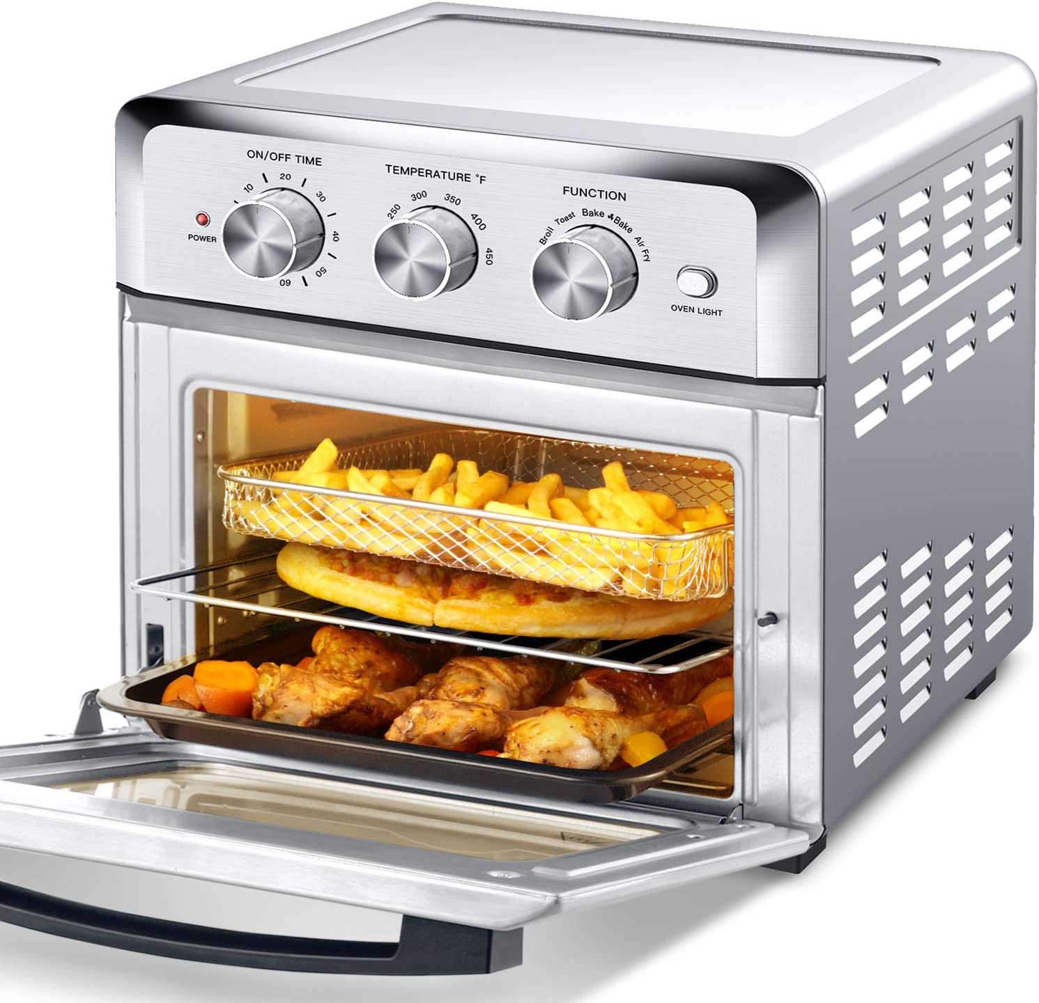Geek Chef Air Fryer Toaster Oven, 4 Slice 19QT Convection Airfryer Countertop Oven, Roast, Bake, Broil, Reheat, Fry Oil-Free, Cooking 4 Accessories Included, Stainless Steel,1500W