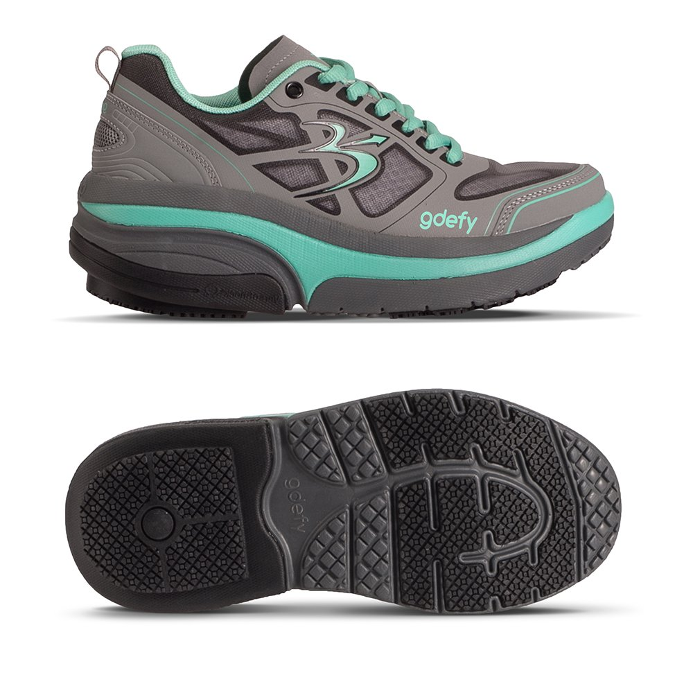 Gravity Defyer Proven Pain Relief Women's G-Defy Ion Athletic Shoes Great for Plantar Fasciitis, Heel Pain, Knee Pain B01GULR60Y 7.5 C/D US|Teal, Gray