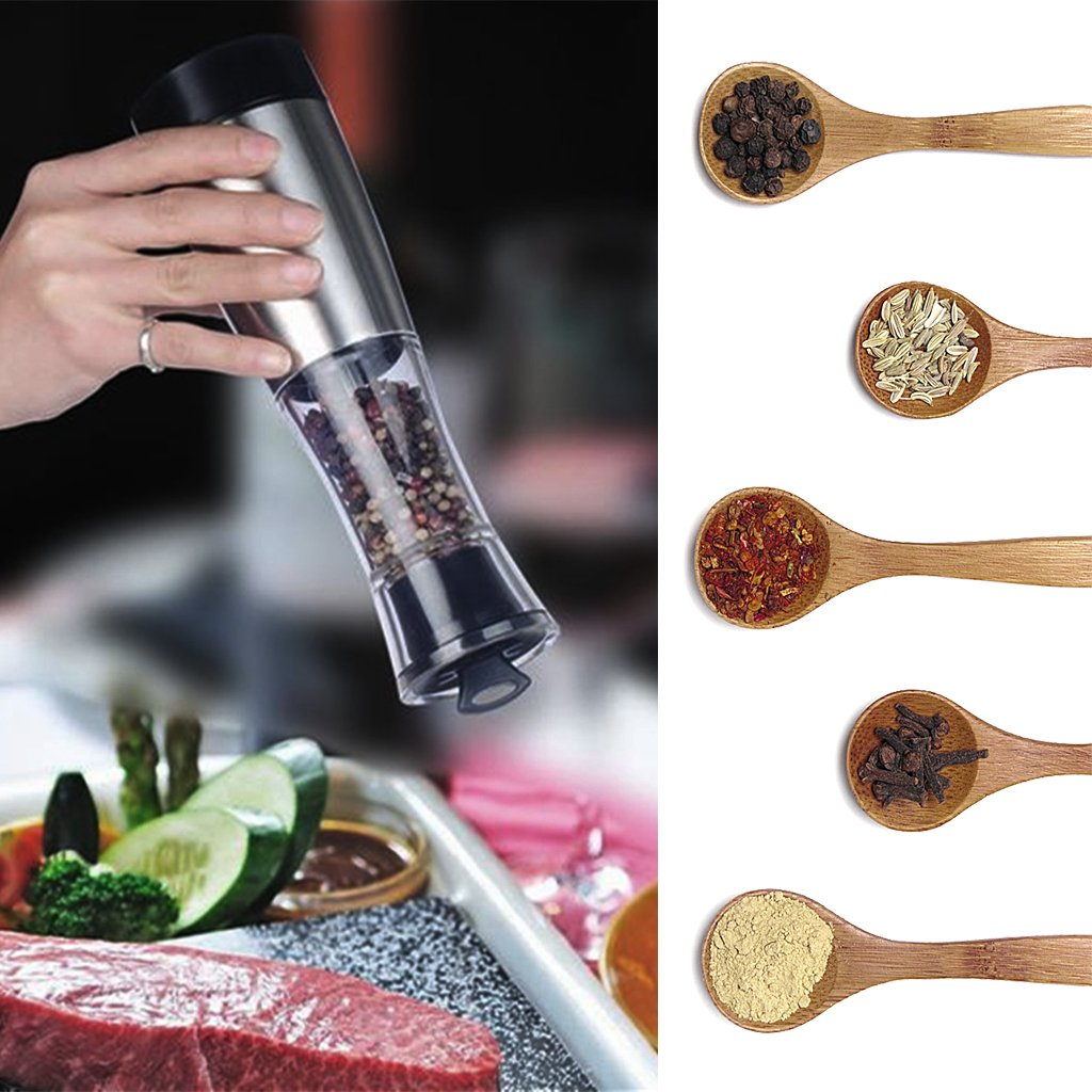 Cicitop Stainless steel Manual Electric Salt Pepper Mill, Perfect for Both Home and Restaurants Use.
