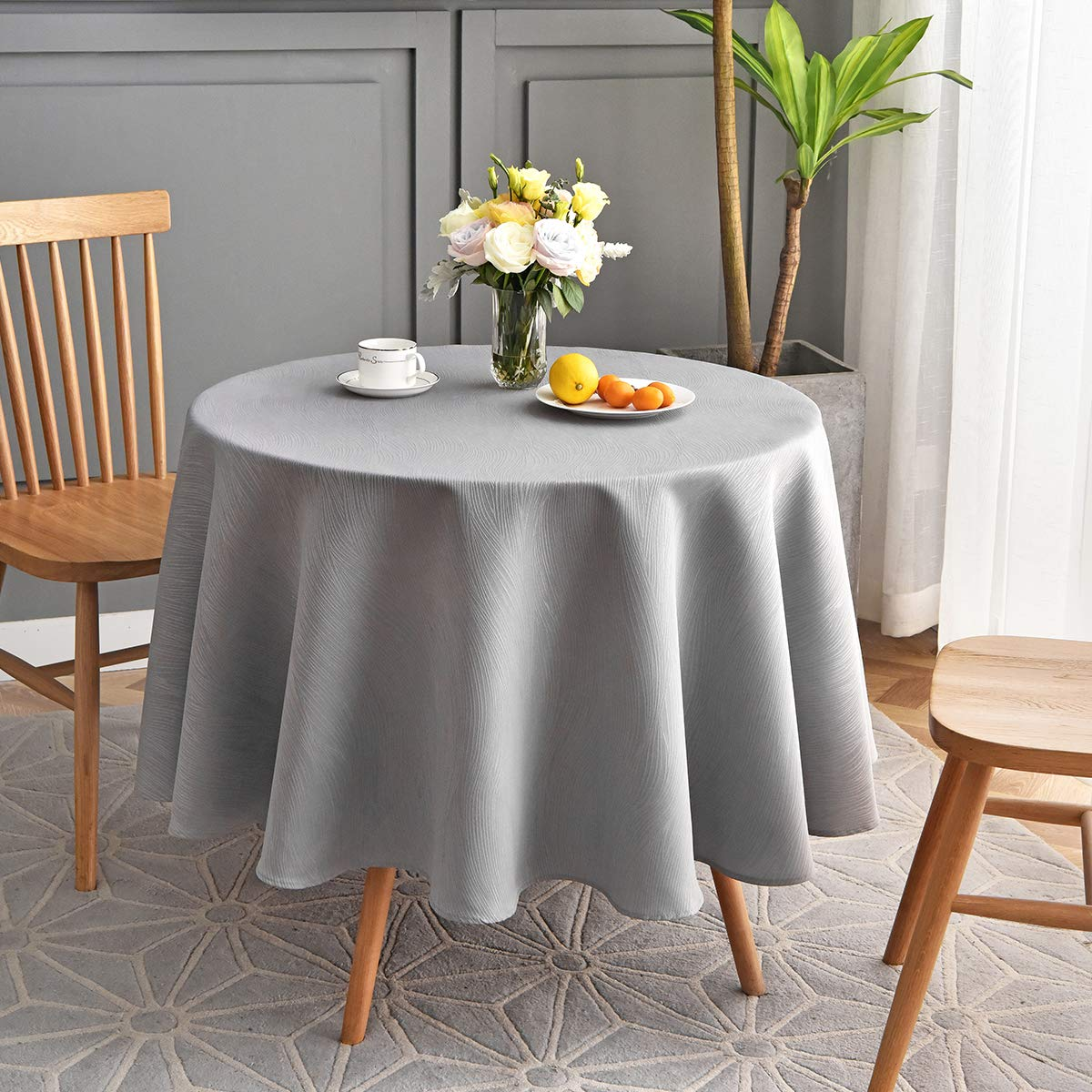 maxmill Round Jacquard Tablecloths Swirl Pattern Spillproof Wrinkle Free Heavy Weight Soft Table Cloth for Circular Table Cover of Buffet Banquet Parties Holiday Dinner Round 90 Inch Light Grey by maxmill