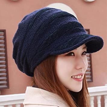 2c46fa8aab0 LIUXINDA-MZ Hat female plus velvet thick autumn winter ear hat knitting hat  knitting hat. Roll over image to zoom in