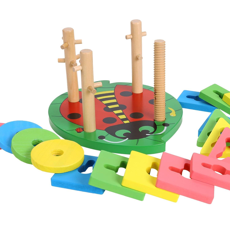 Amazon.com: Wooden Educational Preschool Shape Color Recognition ...
