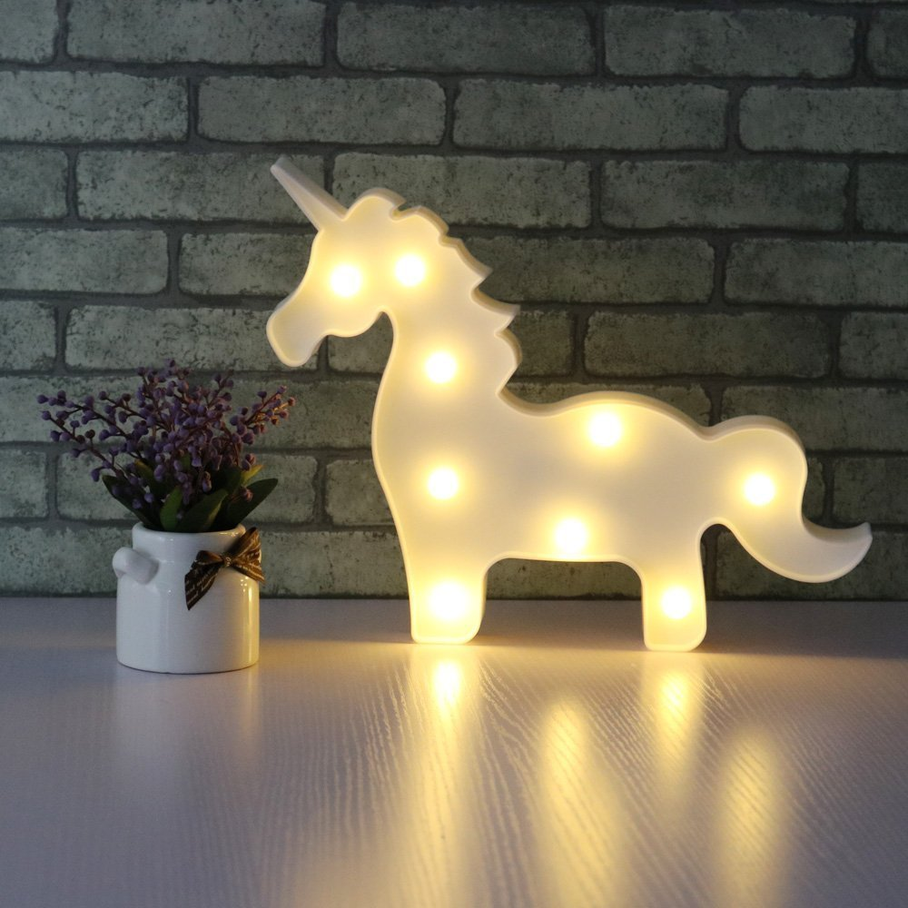 AIZESI Unicorn Night Light,Led Unicorn Lamps,Marquee Battery Operated Table Led Ligths Wall Decoration for Girls Bedroom,Living Room, Christmas,Party as Kids Gift (White Horse)