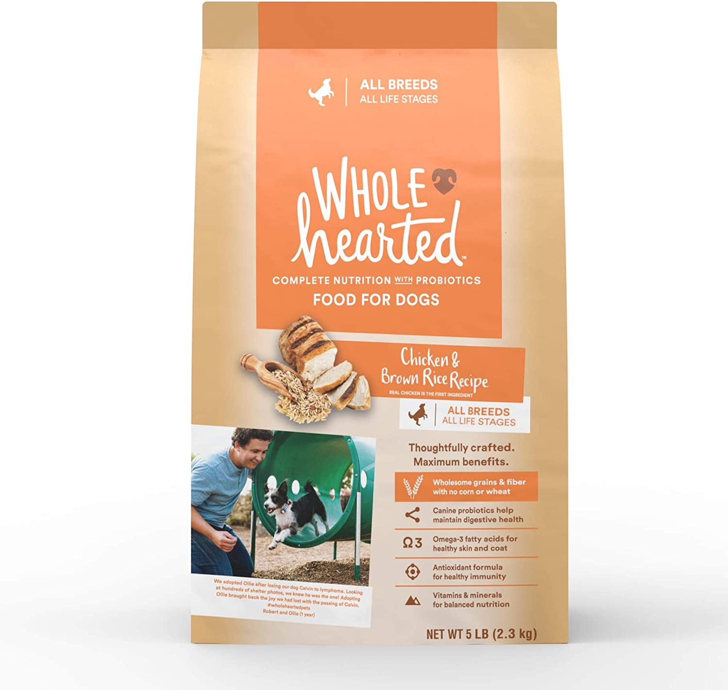 WholeHearted All Life Stages Chicken and Rice Recipe Dry Dog Food, 5 lbs.