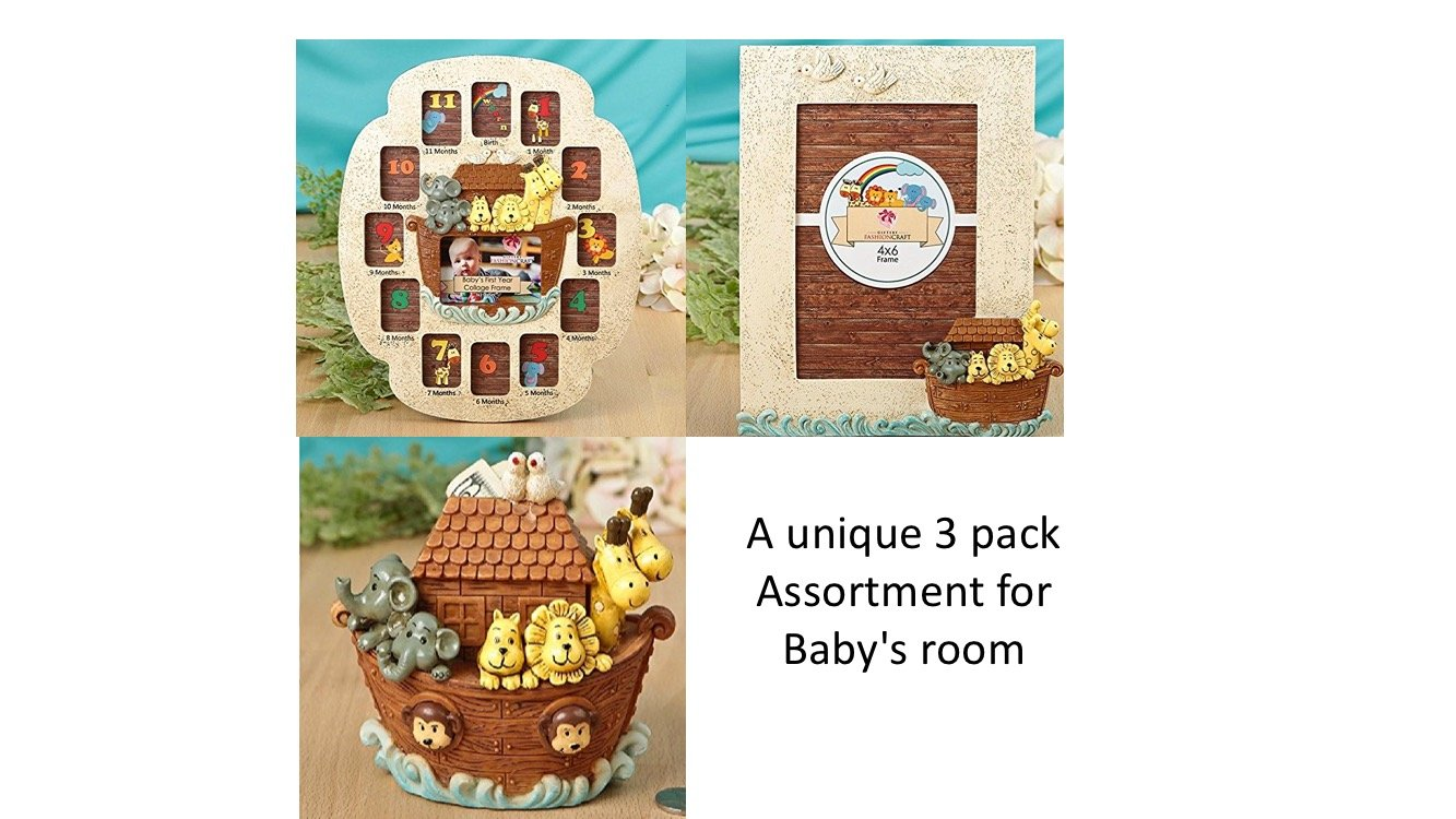 Set of Two Noah's Ark Themed Picture Frames and Matching Bank for Your Baby Nursery - First Year Collage Frame - 3x2 Large Oval, 12 2x1.5 Ovals - Baby Ark Frame 4x6 and Baby's First Bank Fashioncraft