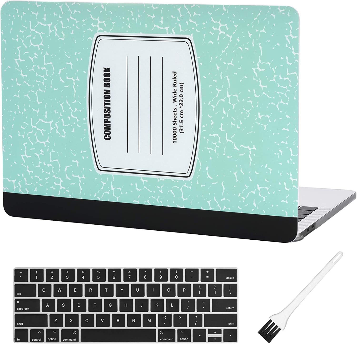 MacBook 12 Inch Plastic Hard Shell Case & A1534 Silicone Keyboard Cover Composition Notebook A1534 MacBook Air 12 Inch Case(Newest Version 2019/2018/2017/2016/2015)-Turquoise Notebook