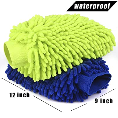 Car Wash Mitt 2 Pack - Extra Large Size Clean Tools Kits- Premium Chenille Microfiber Winter Waterproof Cleaning Mitts - Washing Glove with Lint Free & Scratch Free: Automotive