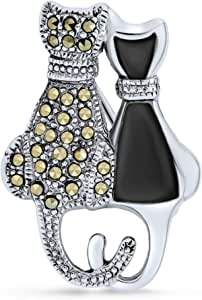 Black And White Marcasite Two Cute Sitting Cat Kitten Kitty Brooch Pin For Women .925 Sterling Silver White Mother of Pearl Black Onyx